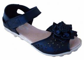 Black Auyi Leather Sandal