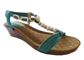 Teal Pearl Auyi Wedge Heel