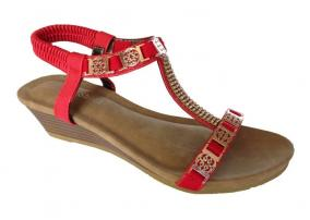 Red Auyi Wedge Heel