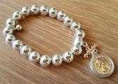 Silver & Rose Gold Coin Bracelet