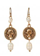 Harper Pearl Earrings - Coin